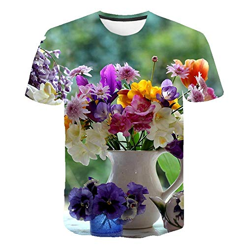 T Shirt Imprimé en Fleurs pour Hommes Col Rond Harajuku Hip Hop Fun Tshirts Demi,Manches Rétro Rue Manches Courtes,Couleur6 5XL