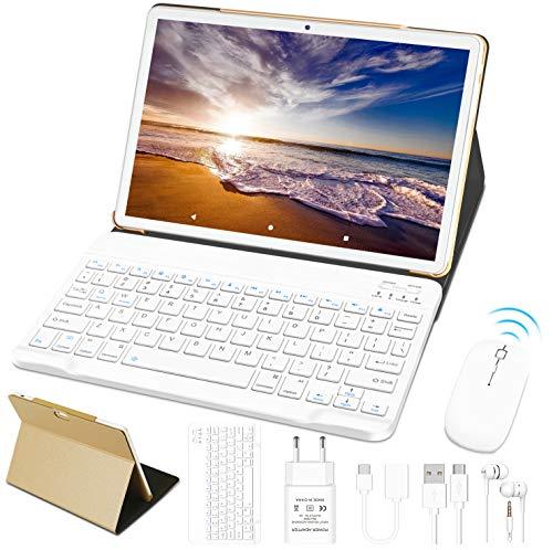 10'' Tablet 4 GB RAM 64 GB ROM WiFi + Dual-SIM Lte Android 10 Pro GOODTEL Tablette Dual-Kamera 5 + 8 MP | WiFi | IPS | Bluetooth | MicroSD 4-128 GB | FM-Radio | mit Bluetooth Tastatur & Maus, Golden