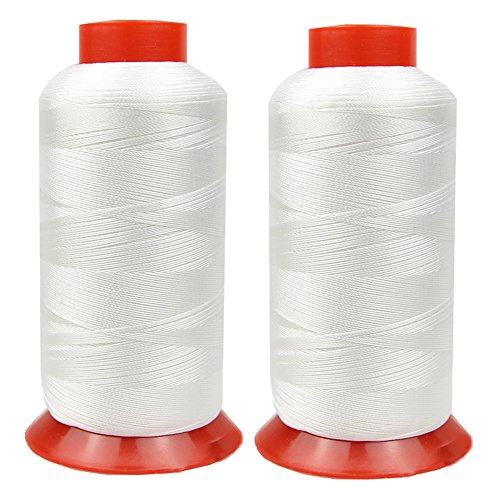 Polyester Sewing Thread High Strength Heavy Duty UV Resistant Outdoor Thread #69 T70 Size 210D/3Ply for Upholstery Embroidery Serging 3000Yards Pack of 2 (White)