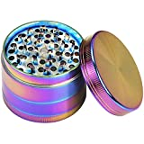Herb Grinder, 2 Inch Zinc Alloy 4 Chambers Metal Flat Grinders with Pollen