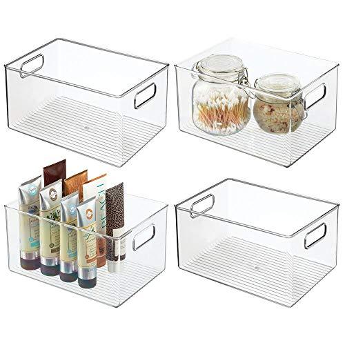 mDesign Juego de 4 cajas de plástico con asas – Organizador de baño grande para cosméticos, toallas, jabón y champú – Cajas organizadoras, perfectas para guardar maquillaje – transparente