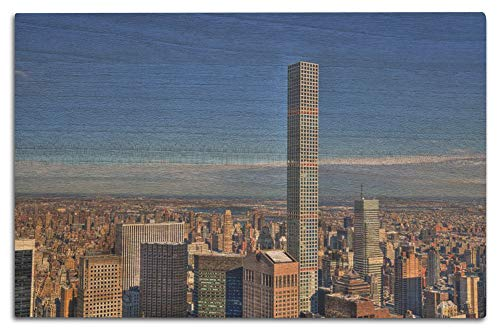 Lantern Press Manhattan, New York City - Colorful HDR Image of Midtown Featuring The 432 Park Avenue Building on a Clear Day A-9013207 (12x18 Wood Wall Sign, Wall Decor Ready to Hang)