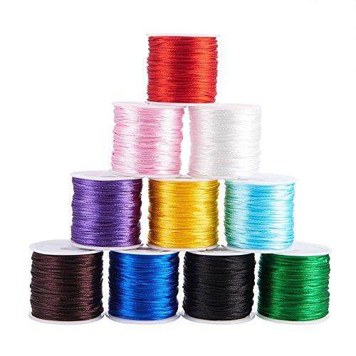 PandaHall Elite 10 Rollen 30m / Rolle 1mm Rattail Satin Nylon Trim Cord Chinesischer Knoten Kumihimo String, 10 gemischte Farben