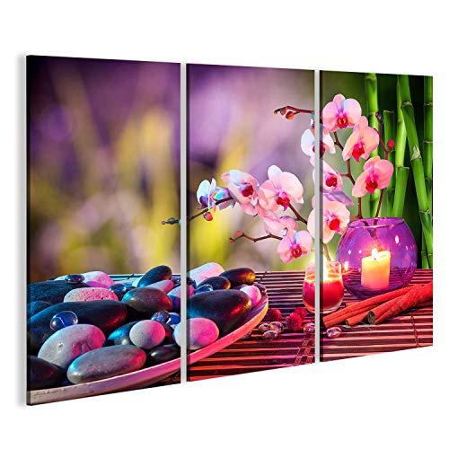 islandburner Cuadro Cuadros Piedras de la Salud de Masaje Feng Shui con orquídeas de bambú SPA...