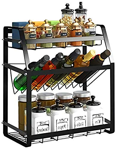 Spice Rack 3-Tier Kitchen Countertop standing Storage Organizer or Wall Mount Spice Rack Organizer Bathroom Shelf Holder carbon steel,black