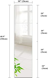 BEAUTY4U Wall Mirror Tiles of Glass 6PCS 10x10 Flexible Frameless Mirror Set HD Full-Length Make Up Mirror Tiles for Home Door and Bathroom Decor