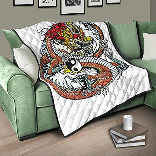 Flowerhome Drache Yin Yang Steppdecke Tagesdecke Bettdecke Bettüberwurf Sofadecke Couchdecke Schlafdecke Wohndecken Kuscheldecken für Sofa Couch Bett White 100x150cm