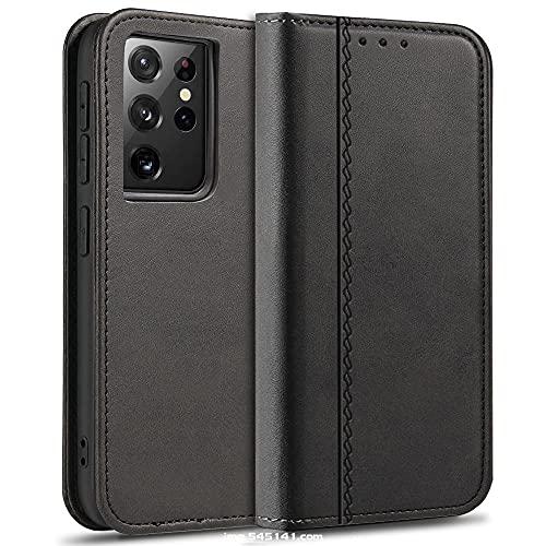 MC WHLZD Lederhülle für Samsung Galaxy S21 Ultra Hülle, Vintage Handyhülle mit Kartenfach Ständer, PU Leder Flip Cover Klapphülle für Samsung S21 Ultra, Schwarz