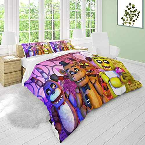 Anjinguang FNAF 3-Piece Bedding Set,FNAF Five Scary Nights Single/Double/King Comforter Set with Pillow Sham and Duvet Cover Bedding,with 1 Quilt Cover 2 Pillow Shams for Teens Boys Girls