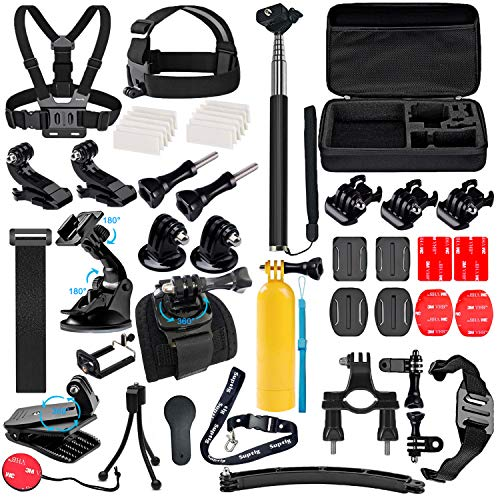 Suptig Accessories Kit Compatible for Gopro Hero 8 Hero 7/6/5/4/3/3+/2/1/Session and Sj Camera AKASO Dragon Campark Yi Xiaomi Action Camera Accessories Kit