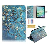 UUcovers Case for Samsung Galaxy Tab S2 8.0 inch (SM-T710/T715), Slim Lightweight Van Gogh Oil Painting Folio Stand Synthetic Leather Magnetic Wallet Cover with Pocket Card Holder, Almond Blossom