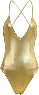 IEFIEL Women One Piece Shiny Metallic PVC Leather Sleeveless Monokini Bodycon Ballet Dance Leotard Bodysuit
