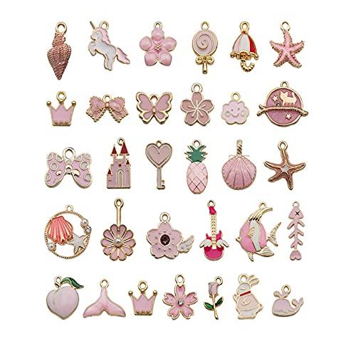 Chytaii 31 tipos de concha serie colgante joyería kit para hacer manualidades DIY collar pulsera para joyería y manualidades conjuntos de manualidades, color rosa