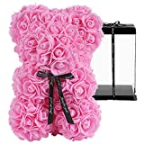 GuKKK Osito de Rosas con Caja de Regalo de Pozy, Rosa Oso, Oso de Rosas, Oso Flores, Oso de Flores Aniversario, Regalo para mamá Valentín, Cumpleaños, Aniversario-Caja de Regalo (10 Pulgadas) (Rosa)
