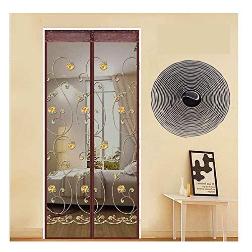 Buitendeur met magnetisch scherm Automatisch venster jaloezieën met gaas gordijn eenvoudig te installeren gaas gordijn geen boren vliegen bruin 90x210cm 90X210cm BRON