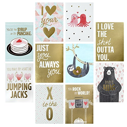 Hallmark Studio Ink Love Cards Assortment, Gold and Pastel Sloths, Octopus, XO, Bears, Pancakes (10 Cards with Envelopes)
