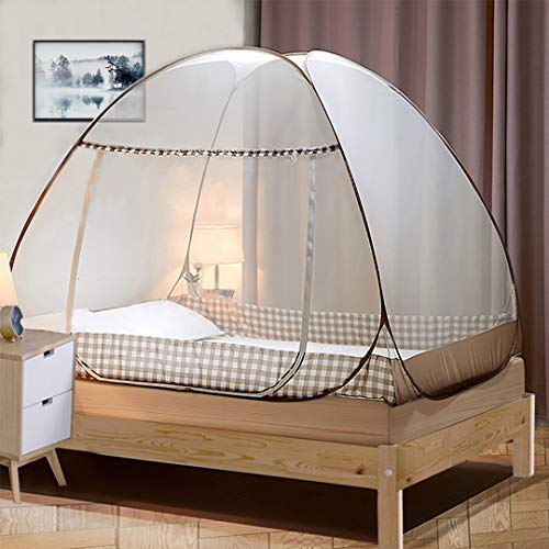 Tinyuet Bed Canopy,Portable Travel Mosquito Net with Net Bottom, 39.3x78.7x39.3in Foldable Single Door Pop Up Bed Tent-Brown Rim