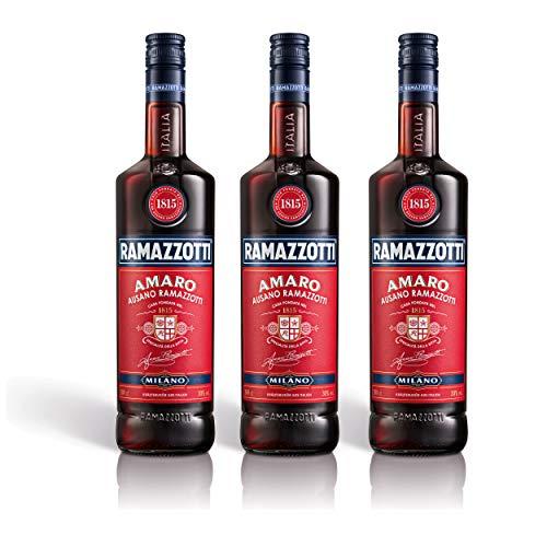 Ramazzotti Amaro Kräuterlikör 3er Set, Schnaps, Spirituose, Italienischer Likör, Alkohol, Flasche, 30%, 3x1 L