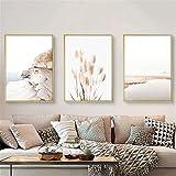 RAILONCH Beige Beach Poster Set, 3 Bilder. Stilvolle Home