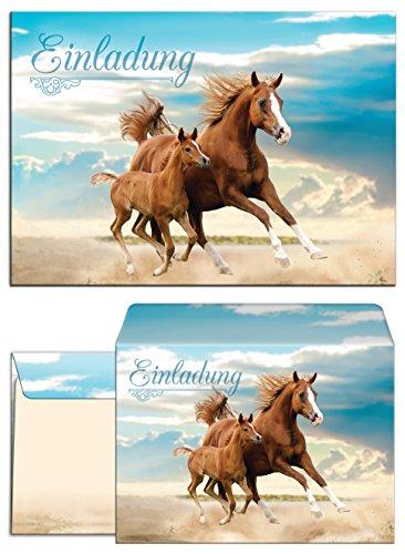 JuNa-Experten 12 Einladungskarten zum Kindergeburtstag Pferd incl. 12 Umschläge / Fohlen / Zwei Pferde / Geburtstag / Mädchen / schöne und Bunte Einladungen für Mädchen (12 Karten + 12 Umschläge)
