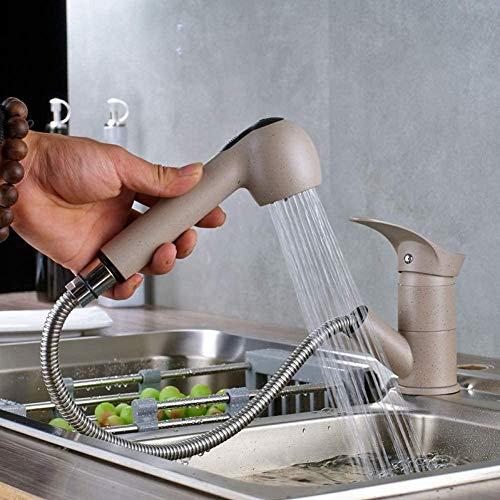LJJ Grifo Nuevo 360 accesorios de cocina giratorios grifo de fregadero extraíble grúa grifo ahorrador de agua grifo de agua caliente y fría