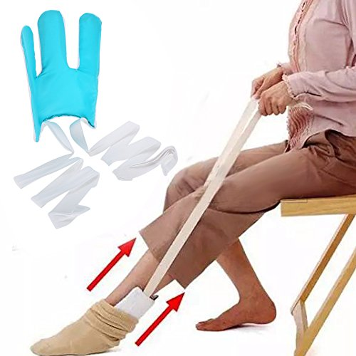 Sock Aid Easy On Einfach Aus Auf Ihre Socke Ohne Biegen für Senioren, Behinderte, Schwangere Frauen etc. Flexible Deluxe Compression Socks Strümpfe