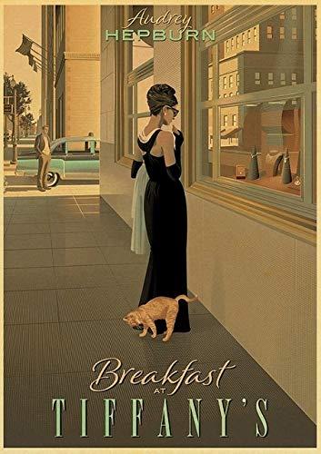 Fymm丶shop Frühstück Bei Tiffany Filmplakat Wand Retro Poster Kunst Gedruckt Gemälde Wandaufkleber Rahmenloses Gemälde 50X70CM (A3360)