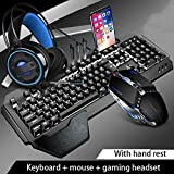 Teclado Mecánico Ratón Headset Kit con El Resto De Muñeca, Ajuste El Soporte, Y El Ratón del Juego Auriculares De Juego For El Ordenador Portátil PC Juegos (Color : C-Set)