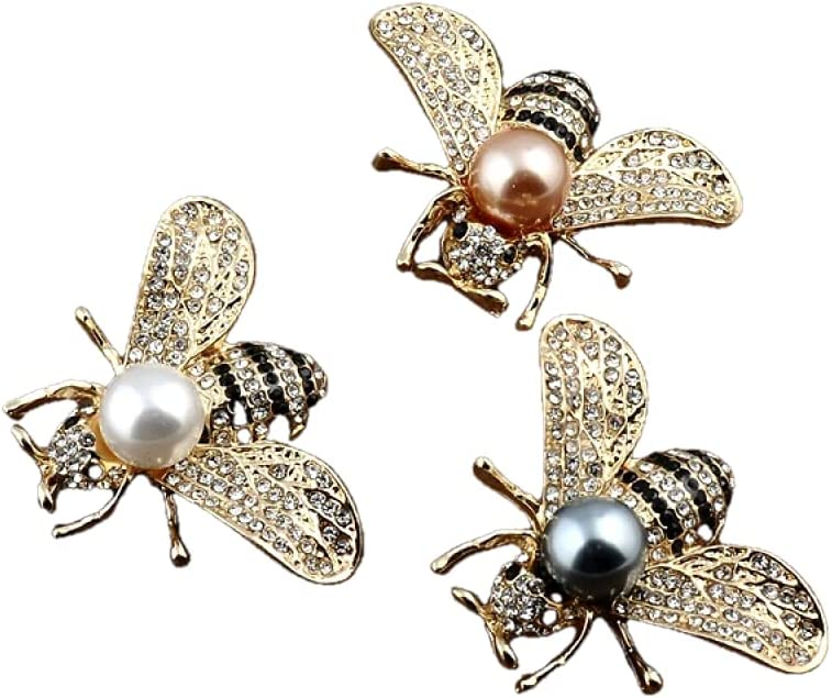 NC European and American Three-Dimensional bee highlighting Pearl Brooch Small Suit Dual-use Exquisite Alloy Brooch Three Brooch Suit