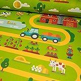 Stoffe Werning Filzteppich Bauernhof grün Spielteppich