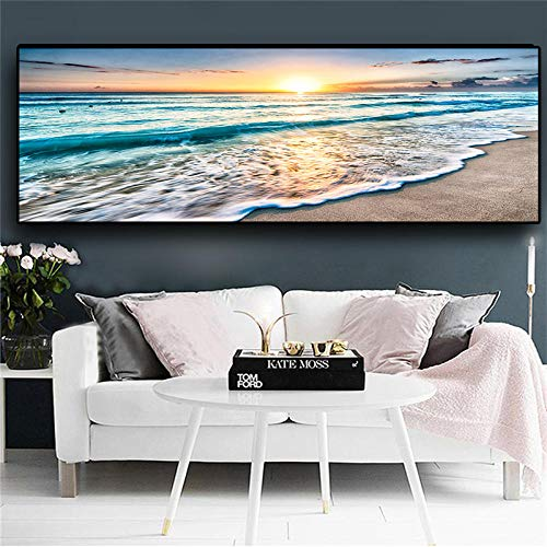 JEfunv Natürlicher Goldstrand Sonnenuntergang Landschaft Poster und Drucke Leinwand Gemälde Mediterran Skandinavische Wandkunst Bild für Wohnzimmer-50x150cm ohne Rahmen