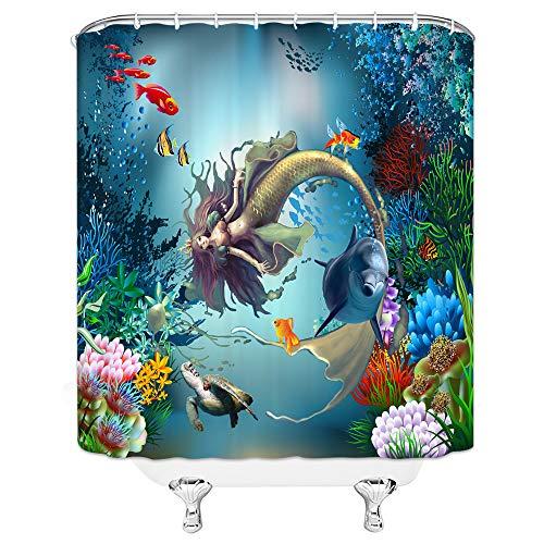 AMHNF Meerjungfrauen-Duschvorhang für Mädchen, Prinzessin, Schildkröte, Hai, tropische Fische, Koralle, Unterwasser, Heimdekoration, schnell trocknender Stoff mit 12 Haken, 178 x 178 cm, Blau / Grün