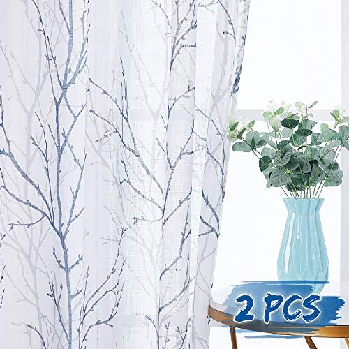 尼古敦白亚麻看起来轻盈苍白的薄纱,海军蓝色和灰色树枝互化图案新鲜半纯粹隐私与足够的光帷幔,卧室,50