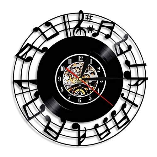 NHDZ Reloj de Pared de Vinilo Musical Music Studio Decoración del hog