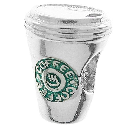 Perle für europäische Charm-Armbänder aus 925 Sterlingsilber, Emaille, für heiße Kaffeetrinke, Grün