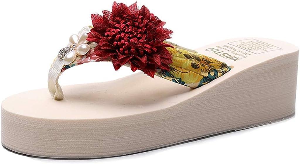 MIOKE Women's Summer Beach Wedge Dealing full price reduction Boho Albuquerque Mall P Flipflops Sandals Flower