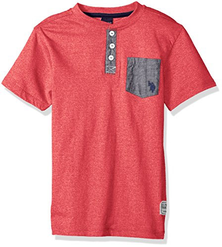 U.S. Polo Assn. Boys' Little Short Sleeve Henley T-Shirt, Marbled Jersey Chambray Pockets Marled Red, 5/6