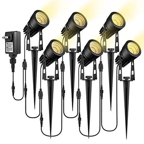 ECOWHO Low Voltage Landscape Lights, 12V Outdoor Landscape Lighting LED Spot Lights Plug in Waterproof Garden Lights for Flood Yard Path (Extendable to 8 or 10 Lights, Upgrade 6 Pack, 68.9ft 21m)