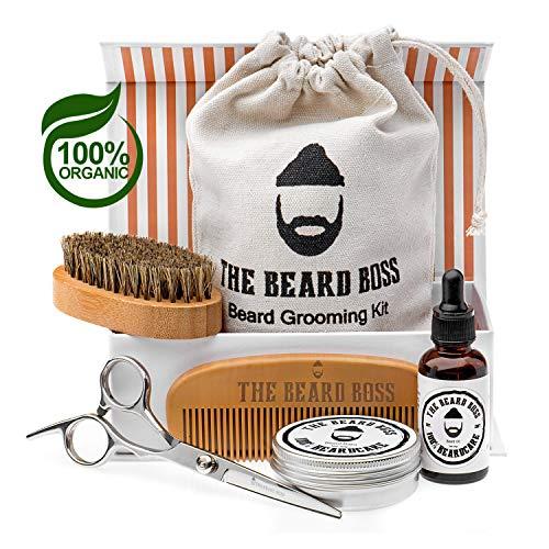 Kit professionnel de barbe d'homme avec huile naturelle biologique, baume, brosse,peigne e ciseaux d'acier, sac de voyage