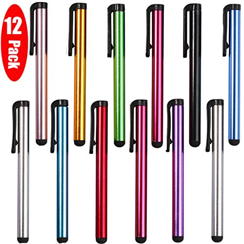 12 Pack Universal Capacitive Stylus Pen Portable Multicolor Touchscreen Stylus Pens Compatible with Apple iPhone 5 /5S/ 5C /6/7/11 Plus iPad Galaxy Tablet Smartphone PDA