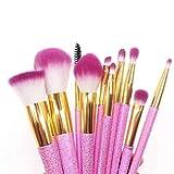 10 tipos de coloridos pinceles de maquillaje de unicornio cereza en polvo, herramientas de belleza para la chica que amas