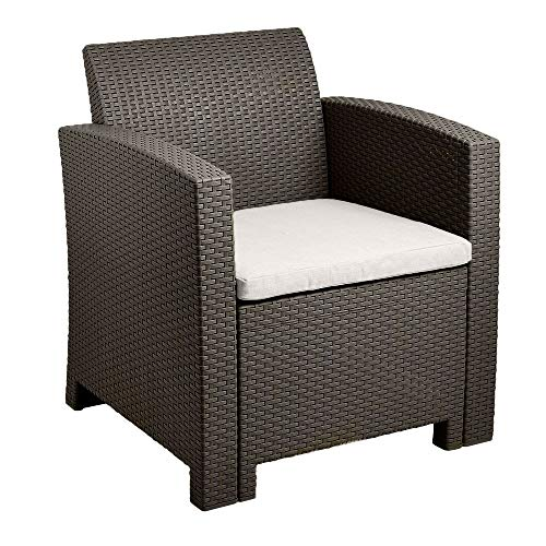 Trueshopping Brown Rattan Effect Armchair with Cream Cushion - Outdoor Rattan Garden Furniture for Patio, Terrace, Balcony, Decking & Conservatory - Weather Resistant, Easy Clean & Fade Free