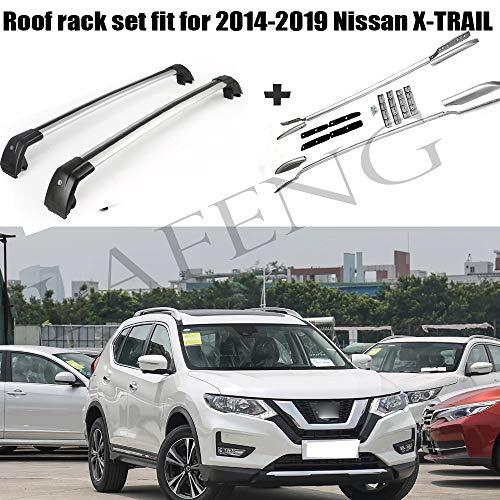 LAFENG Juego de barras de techo para Nissan Rogue X-trail 2014-2019, 4 piezas portaequipajes y juegos de barras transversales.