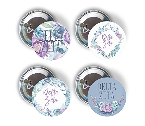 Delta Zeta Sorority Purple Floral 4 Pieces of Variety Buttons Pin Back Badge 2.25-inch dz