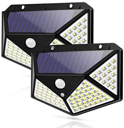 Solarlampen für Außen mit Bewegungsmelder Hohe Qualität 100 LED 800 Lumen Solarleuchten Aussen 1800mAh Wasserdichte Solar Wandleuchte Bewegungsmelder Aussenleuchte Solarlichter für Garten-2 Stück