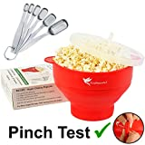 EcoPeaceful Microwave Popcorn Maker - Silicone Collapsible Bowl Popcorn Popper. PLUS 6 Stainless Steel Measuring Spoons Fit Spice Jars - 100% GENUINE SILICONE - PLASTIC-FREE, BPA-FREE, PHTHALATE-FREE, VEGAN