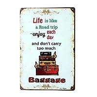 Ryantey メタルブリキ看板 レトロ ヴィンテージ Life is Like A Road Trip アルミ看板 ホーム&バー用 壁装飾 8x12インチ