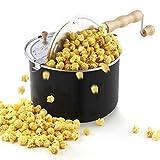 LYDF Cook Stufa Popcorn Popcorn in alluminio, 6 Quart, Black...