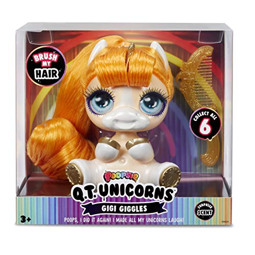 Poopsie Q.T. Unicorns Gigi Giggles – Cute, Collectible Peach-Colored Unicorn with Brushable Hair and Surprise Scent