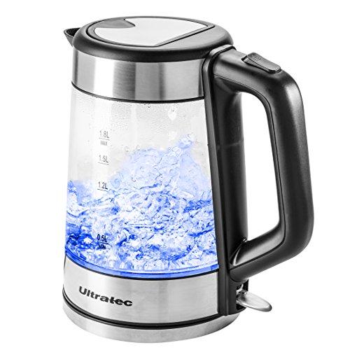 Ultratec LED Wasserkocher BlueVita100 – 2.200 Watt, 1.7 Liter, Edelstahl/Glas Wasserkocher